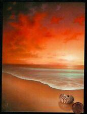 Birthday Shell Beach Sunset Orange Ocean Waves Sand - Birthday Greeting Card