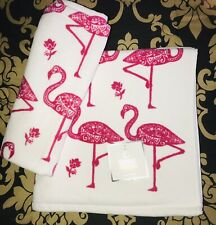 New Deborah Connolly Flamingos Hot Pink White Set Of 2, 1 Hand & 1 Bath Towels.