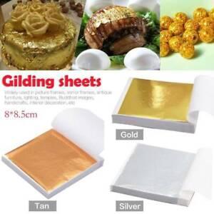 100X Gold Silver Copper Foil Leaf Paper Food Cake Decor Gilding Sheet Sticker