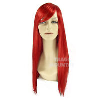 Adult Women's Long Red Little Mermaid Bangs Ariel Jessica Rabbit Costume Wig