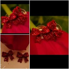 Red Dazzling Christmas BOW RIBBON Earrings NEW BOX FREE GIFT WRAP Butterfly back