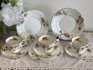Antique H.M Williamson & Sons 3 Tea Trio's ~ Cup, Saucer & Plate ~ RARE ~ 1904