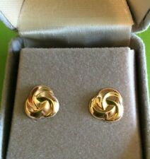 Earrings 10k Yellow Gold Love Knot Cable Design Stud Post Back in Gift Box NEW*