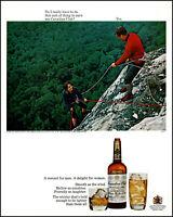 1967 Woman Rock Climbing Canadian Club Whisky rewards vintage photo print ad L20