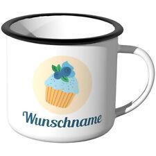 JUNIWORDS Emaille-Tasse mit Wunschname, Cupcake, Design F, Wunschtext