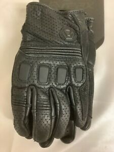 Reax Mens Black Tasker Air Leather Perforated Motorcycle Gloves Size Medium