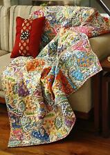 Handmade Patchwork Reversible 100%Cotton Sofa Bed Throw Multicolor Indian Floral