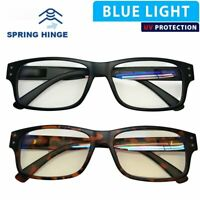 Blue Ray Blocking Reading Glasses for Men Large Rectangular Frame Spring Hinge