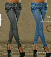 Leggings pantaloni effetto jeans leggins pantacollant donna nuovi taglie miste