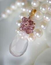 Halsketten und Anhänger mit Rosenquarz Echtschmuck aus Gelbgold für Damen