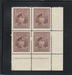 CANADA  #250   LOWER   RIGHT     MNH  PLATE  BLOCK  # 2