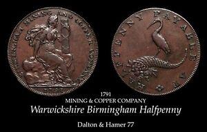 1791 Warwickshire Mining Conder Halfpenny D&H 77, nice