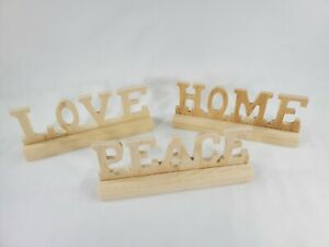 "3Pack Wooden Word Unfinished, Home, Love, Peace, 6"" Unpainted Wooden Decor"