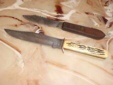 "2- Vintage Wesco ""Original Bowie Knife"" & Unmarked (carbon steel) Knives"