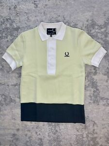 Fred Perry X Raf Simons Mens Polo Shirt Soft Neon Yellow/Blue/White Size 38/Med