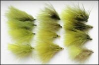Dawsons Olive Trout Flies, 12 x Gold head & Unweighted, Mixed Sizes, Fly Fishing