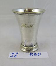 ANTICO BICCHIERE IN SILVERPLATE CON NOME INCISO VINTAGE GLASS KIELD NAME R90