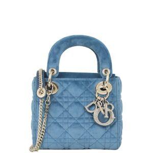 Authentic Dior Lady Dior Mini Velvet