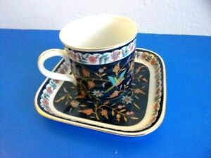 Silk Road Takahashi Tea Cup with Square Saucer / Plate, 1983 Navy Blue