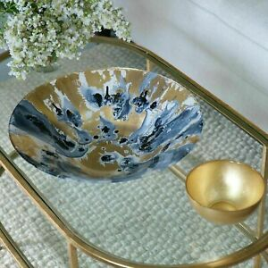 Beatriz Ball New Orleans Glass Blue and Gold Marble Extra-Large Centerpiece