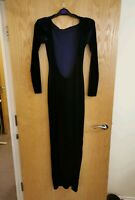 Asos Size 8 Fitted Floor Length Navy Low Back Formal Ball Dress Slit leg witch