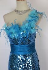 NEW Blush Prom Alexia $400 Sequin Size 8 Formal Turquoise Gown Pageant Dress NWT