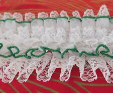 Pale green and white shirt frill Mens vintage nylon ruffle 1960s 1970s glam rock
