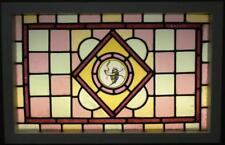"""VICTORIAN ENGLISH LEADED STAINED GLASS WINDOW Hand Painted Bluebird 31"""" x 20"""""""