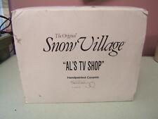 "Dept 56 Snow Village ""Al's TV Shop"" Ceramic Lighted Building #5423-2 VGC Box"