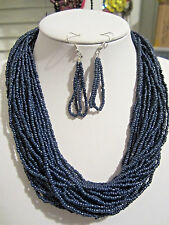 Multi strand Navy blue Glass Seed Bead Necklace Earring Set