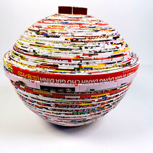 Colourful Paper Recycled Large Trinket Pot With Lid Fair Trade Hand Made Vietnam
