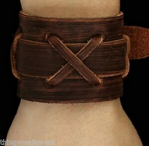REAL BROWN LEATHER WEAVE WRISTBAND WRIST STRAP BRACELET CUFF CRISS CROSS UK A39