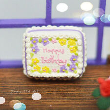 1:12 Dollhouse Miniature Floral Happy Birthday Sheet Cake/Miniatures BD K2305