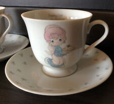 """Precious Moments Teacups and Saucers """"Dropping Over for Christmas"""" 1986"""
