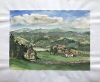 Aquarell Blick ins Tal mit Dorf und See Bergige Landschaft Süddeutschland KL80
