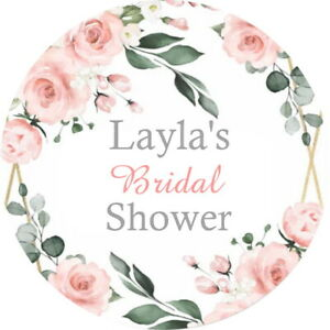 PERSONALISED GLOSS FLORAL HEN  BRIDAL WEDDING STICKERS BABY SHOWER LABELS,