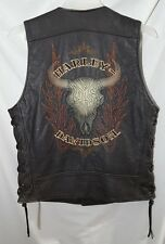RARE Harley Davidson Tioga Pass Black Leather Vest Men's Medium Cow Skull