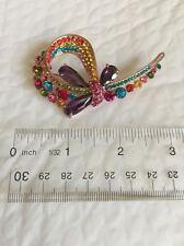 """Festive multi-color Crystal swirl bow Brooch 2.7"""" church wedding anniversary"""