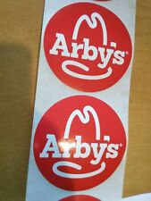 """Two (2) OFFICIAL Arby's 4"""" Promo Sticker RARE HTF ~ Arbys McDonald's Burger King"""