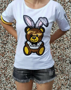 Womens White Sequin Playboy Teddy Bunny Size Small Short Sleeve Cropped T-Shirt