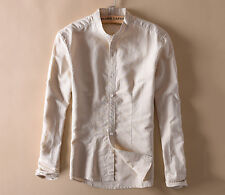 Mens Summer Linen Collar shirts Long Sleeve Slim Fit Classic White/Black/Blue