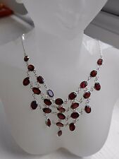 Hallmark Genuine Sterling Silver Sri Lanka Red Garnet Gems Net Necklace (N22/1)