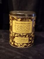 Vintage Bowers Old Fashioned Peanut Crunch 1LB Tin - Empty Can