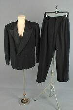 Men's 1940s Black Wool Tuxedo Jacket 40-42 Pants 36x31 Vtg Double Breasted Suit