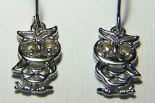 CUTE AS CAN BE STERLING SILVER OWL EARRINGS WITH CITRINE EYES