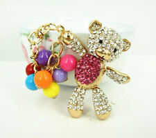 Bear Hot Pink Belly Arm Move Bead Cute Accesories Crystal Purse Bag Key Chain