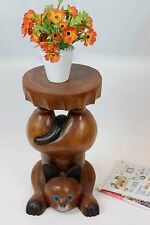 """Wooden Handstand Cat plant lamp stand side end table hand carved Acacia 20""""x11"""""""