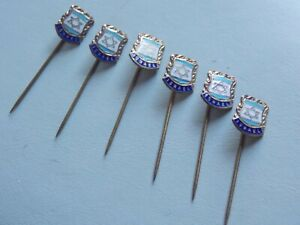 "Stylish Vintage 50's set of 6 Gold Tone & Enamel Stick Pins ""Israel"""