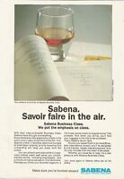 SABENA Belgian Airlines - Savoir faire in the air 1986 Vintage Airline Print Ad
