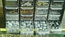 LARGE LOT OF FISHING LEAD WEIGHT RUBBERCOR & EGG SINKERS N STORAGE CASE & HOOKS